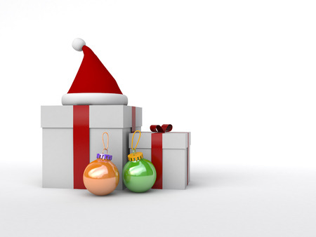 gift box with red ribbons surrounded by santa cap and ornaments Stock Photo