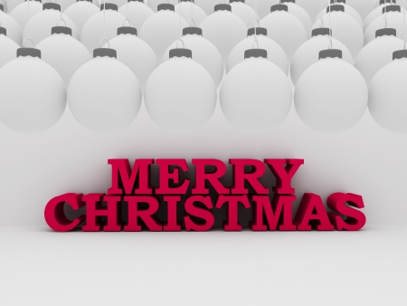 3d texto rojo de Navidad con bolas blancas Foto de archivo