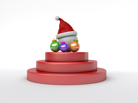 conceptually: 3d conceptually showing santa cap with ornate on winning podium