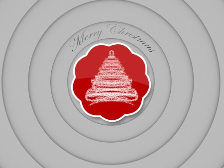 centered: merry christmas tag, concentric circles on white background Stock Photo
