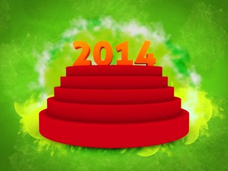 2014 text on cylinder podium isolated green background photo