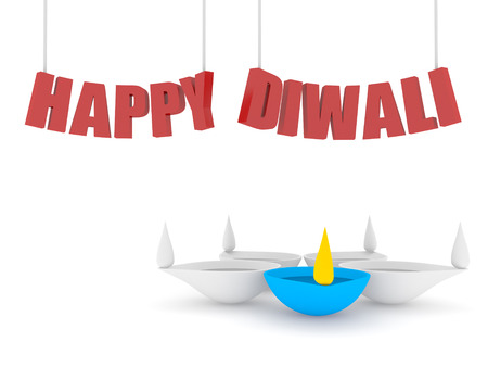 hanging happy diwali text with 3d single color diya isolated white background photo