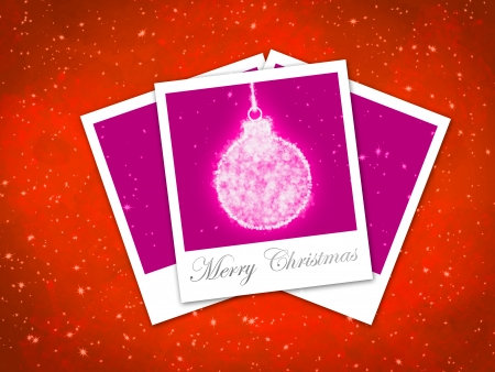 Christmas ball illustration with three photo frame