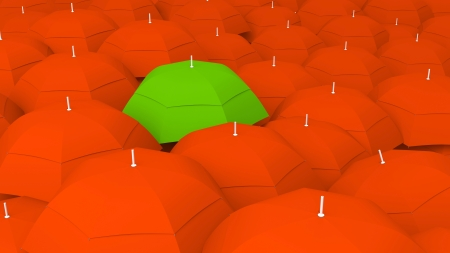 best shelter: 3d conceptually showing leader through umbrella unique color, the best Stock Photo