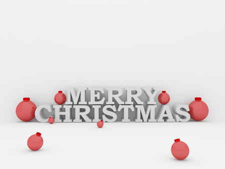 isolated merry christmas text with balls in red