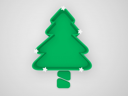 conceptually green christmas tree for save environment and energy