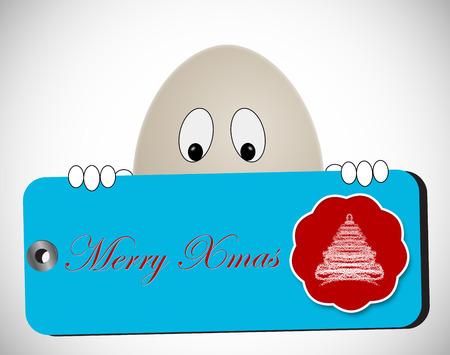 en forma de personaje manteniendo tag huevo escrita feliz navidad