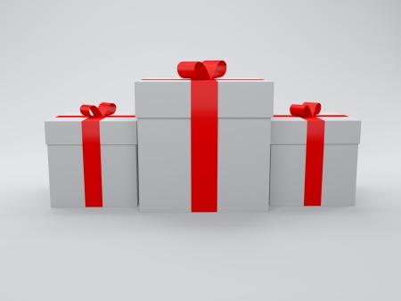 conjunto de caja de regalo envuelto en papel blanco con cinta roja, aislado en blanco Foto de archivo