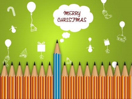 conceptually showing merry christmas, many pencils in line with one main out