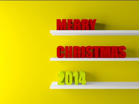 3d merry christmas text on wooden base in room