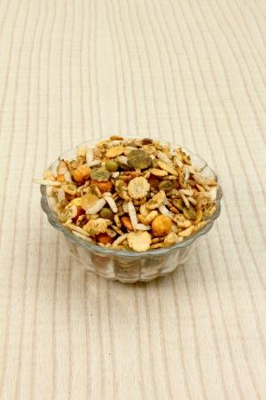 sev: namkeen in glass bowl Stock Photo