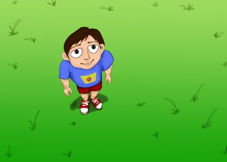 child looking up: boy standing on green grass  and looking up