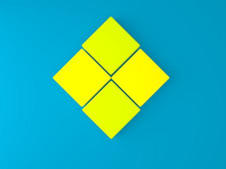 3d caja cuadrada de color amarillo en la pared azul