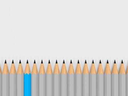 enkele kleur potlood te onderscheiden van de menigte Stockfoto