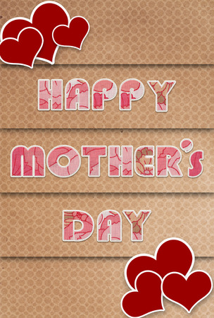 cartel del d�a de madres felices con el coraz�n Foto de archivo