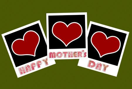 feliz d�a madres marcos de fotos con forma de coraz�n Foto de archivo