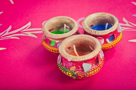 indian decorated candle pot, indian traditional festival Stock Photo