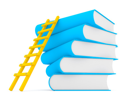 ladder on stack of books, 3d Stock Photo