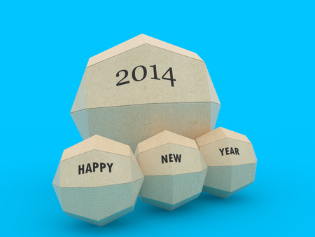 3d paper globe with happy new year 2014 photo