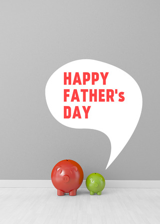 happy fathers day in speech bubble by baby piggy Stock Photo