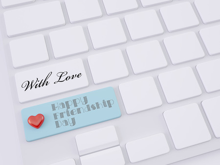 with love heart on shift key, happy friendship day concept photo