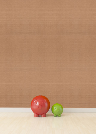 corkboard: two piggy isolated on floor with corkboard texture wall