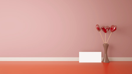 vase plaster: heart shape toy inside vase in interior with pink wall, Stock Photo