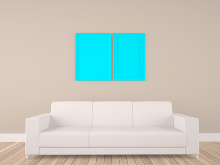 design objects: blue empty frame with white sofa in room Stock Photo