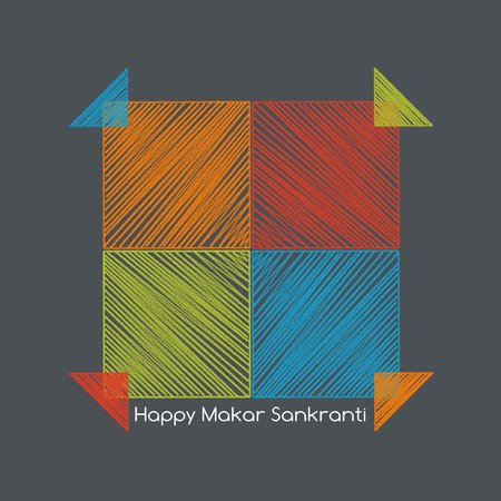 indian family: four colorful kites adjacent side with happy makar sankranti text Stock Photo
