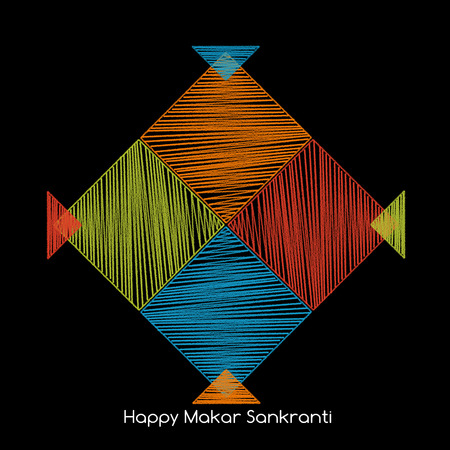adjacent: four colorful kites adjacent side with happy makar sankranti text Stock Photo