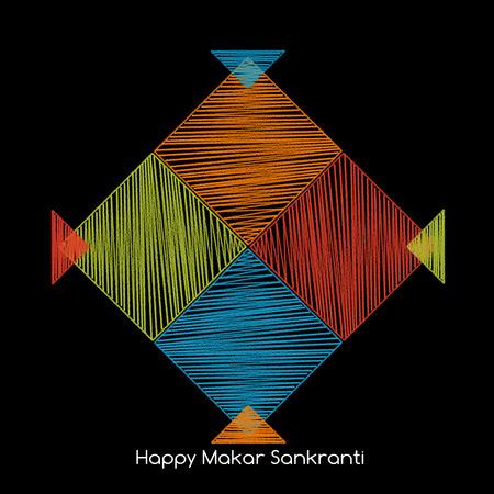 lado cuatro cometas de colores junto con el texto feliz sankranti makar