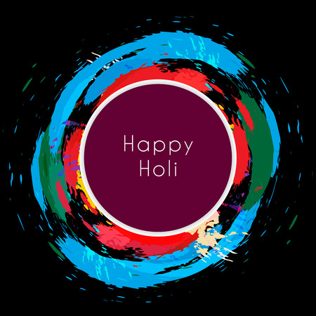 dhulandi: happy holi text surround with colorful splash