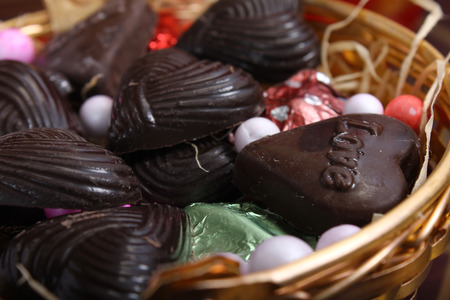 basket: home made chocolates with decorative thermocol balls