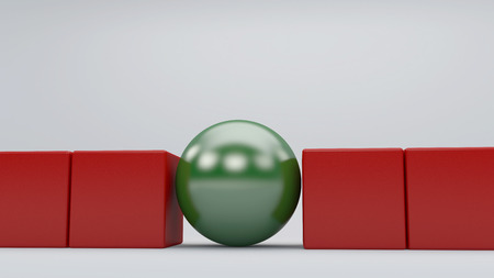 Green sphere among red cubes, standing out in the crowd concept Stock Photo
