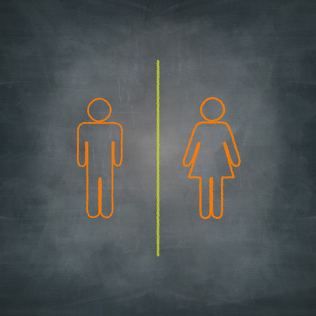 women and men sign drawn with chalk on blackboard Stock Photo
