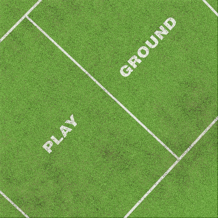 grass area: playground text on grass with area of field Stock Photo