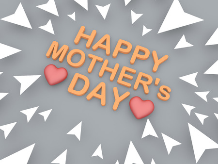 happy mothers day text with heart shape object pointing arrow Stock Photo