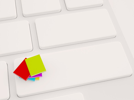 stack of colorful books on keyboard. 3d illustration
