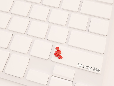 computer keyboard keys labeled marry me with hearts photo