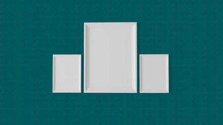 three blank frames on wave graphics wall photo