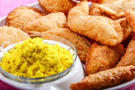 pista: gujia special dish for holi festival in india Stock Photo