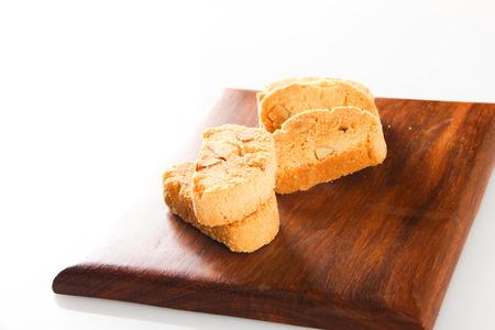 wooden block: cookies on wooden block table