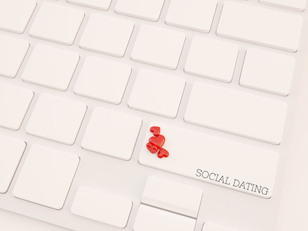 concepts of online dating, with message on enter key of keyboard. photo