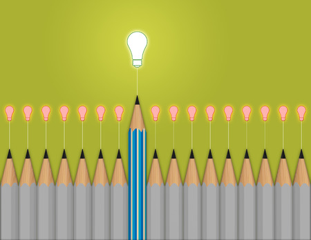 concept idea: pencil light bulb 3d as think outside of the box as concept