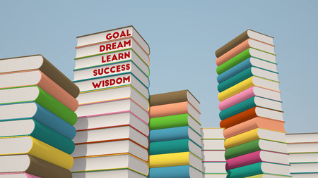 3d rendering of colorful stack of books with motivational words