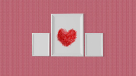 preserve: Three white frame with a red heart at centre to preserve  the memories