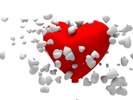 3d coraz�n grande ballon shapped roja junto con varios peque�os globos blancos