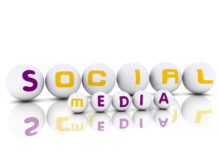 3d effect Spheres with label Social Media with word  reflection Stock Photo