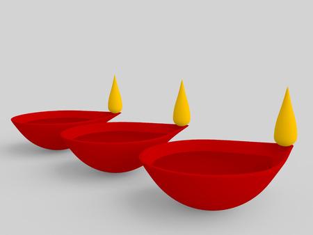 3d three oil lamp in series, diwali festival concept Stock Photo