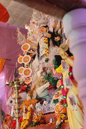 indian warrior: Durga puja  Navrata  festival celebration in india Stock Photo